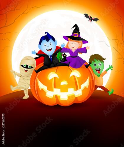 Halloween Cartoon Set Sitting On Pumpkin Cute Kids In