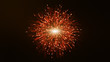 canvas print picture Show 3D particle lines that are beautifully orange to grow or explode. Glowing lines and light particles on a dark brown background
