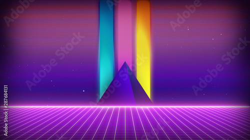 Foto auf Leinwand Violett Retro Sci-Fi Background Futuristic Grid landscape of the 80`s. Digital Cyber Surface. Suitable for design in the style of the 1980`s. 3D illustration
