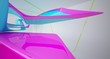 Leinwanddruck Bild - Abstract dynamic interior with colored gradient smooth objects. 3D illustration and rendering