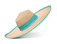 Straw Hat With Blue Ribbon On ...