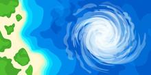 Hurricane Over Ocean Coast Bea...