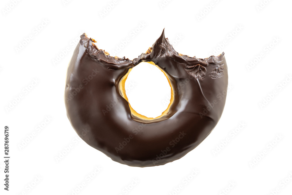 Fototapety, obrazy: Chocolate donut with bite missing isolated on a white background