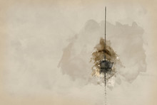 Digital Watercolor Painting Of Stunning Unplugged Fine Art Landscape Image Of Sailing Yacht Sitting Still In Calm Lake Water In Lake District During Peaceful Misty Autumn Fall Sunrise