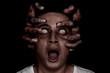 Leinwandbild Motiv Young man possessed by devil