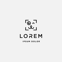 Dog Paw Camera Logo Template Vector Design