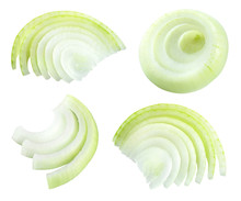 Onion Slices Isolated. Cut Onion. Onion Set. With Clipping Path.