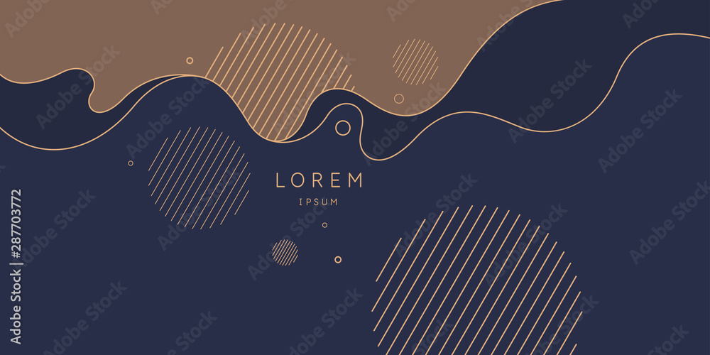 Fototapeta Poster with dynamic waves. Vector illustration in minimal style. Abstract background.