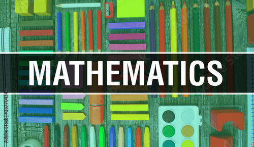 Mathematics Text With Back To School Wallpaper Mathematics And School Education Background Concept School Stationery And Mathematics Text Banner With Colorful Pencil 3d Rendering Buy This Stock Photo And Explore Similar Images