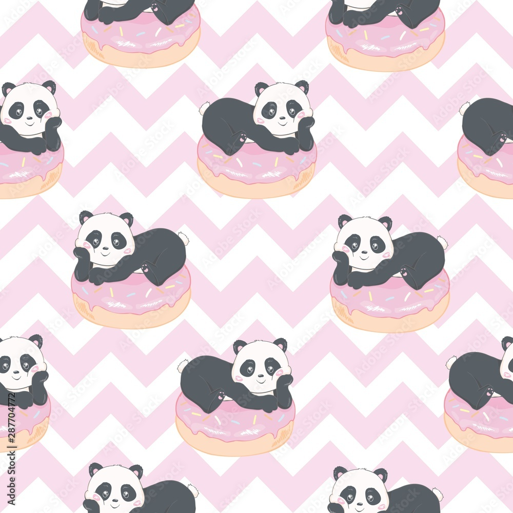 Fototapety, obrazy: Vector Pattern: Seamless panda bear pattern on light pink background, panda with different gestures