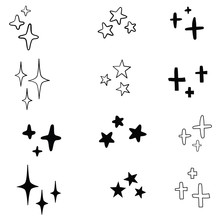 Set Of Black Hand Drawn Vector Stars In Doodle Style On White Background. Could Be Used As Pattern Or Standalone Element. Brush Marker Sketchy