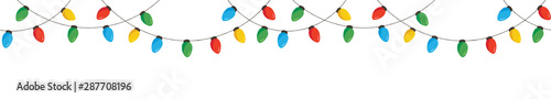 Fotografie, Obraz  Vector Colorful Retro Holiday Christmas New Year Hanging String Lights Isolated