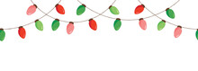 Vector Colorful Retro Holiday Christmas New Year Hanging String Lights Isolated Horizontal Seamles Border Background