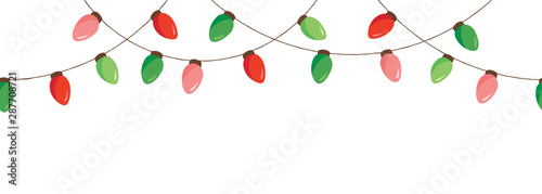 Obraz na plátně  Vector Colorful Retro Holiday Christmas New Year Hanging String Lights Isolated