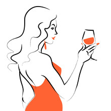 Vector Hand Drawn Portrait Of Young Beautiful Lady In Red Dress With Wine Glass Isolated On White Background. Hand Drawn Sketch Minimal Style. Concept For Ladies Night Party, Bar, Happy Cocktail Hour.