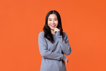 Happy Asian Woman Smiling With...