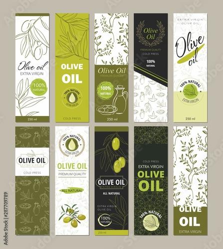 Obraz na plátne Set of templates packaging for olive oil bottles.