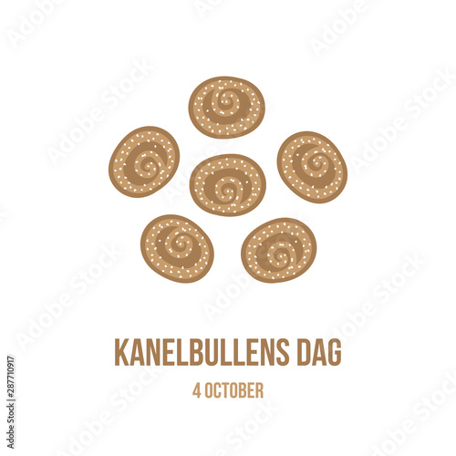Fotomural Kanelbullens dag or cinnamon roll day, vector card, illustration for swedish annual holiday