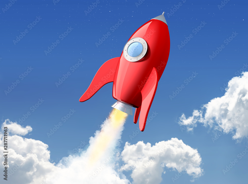 Fototapety, obrazy: 3D rendering of cartoon funny red rocket launching in the clouds. File contains a path to isolation for spaceship.