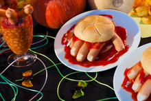 Burger And Human Hand Food Ideas For Halloween