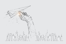 The Particles, Geometric Art, Line And Dot Of Flying Paper Rocket.
