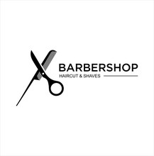Barbershop Logo Design Silhouette Vector Stock On The White Background . Haircut Logo Vintage Hispter Badge .
