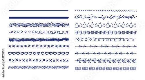 Valokuvatapetti Vector Doodle Drawings Divider Lines Collection, Sketched Illustration, Freehand Drawn Lines, Scribble Lines Set