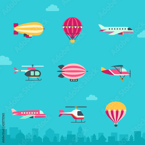 Air transport vector icon set (flat style). Part one. Canvas Print