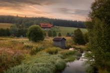 Beautiful Morning In Small Village Horska Kvilda, Sumava, Czech Republic