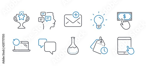 Photo  Set of Education icons, such as New mail, Messages, Victory, Speech bubble, Recovery laptop, Payment click, Chemistry lab, Time management, Light bulb, Tablet pc line icons