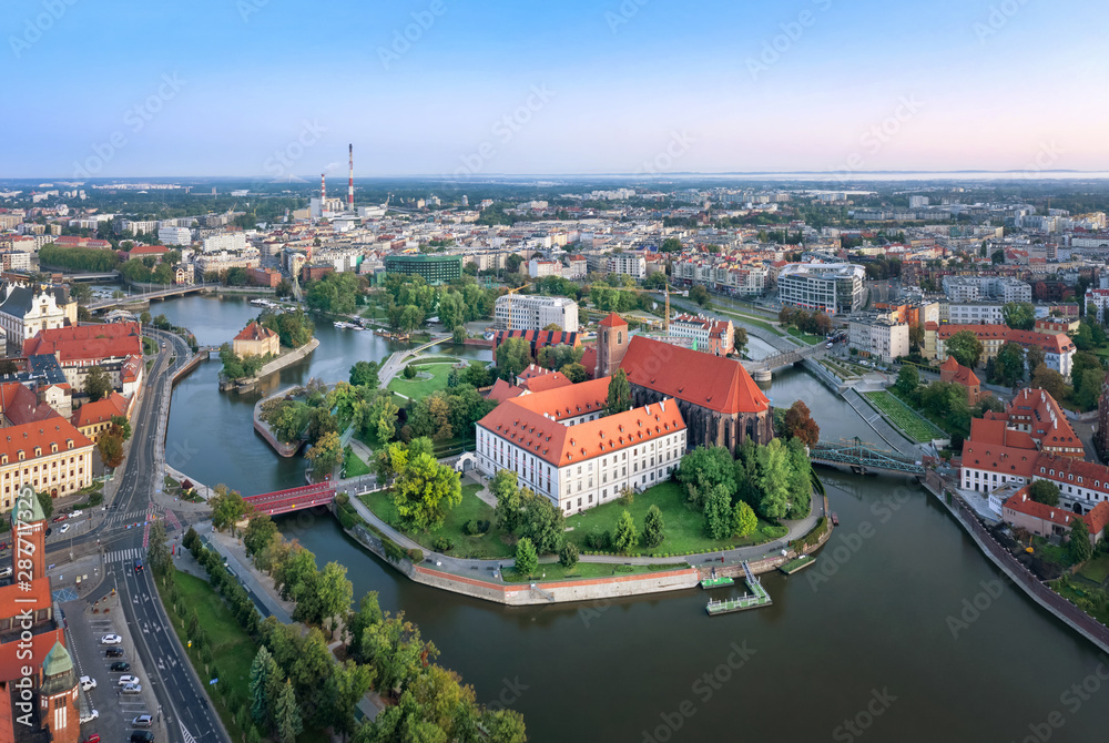 Fototapety, obrazy: Aerial view of Wyspa Piasek (or Sand Island) in the Odra river, Wroclaw, Poland