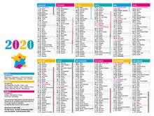 Calendrier 2020 Multicolore France Avec Jours Fériés, Nombre De Semaines Et Vacances Scolaires.