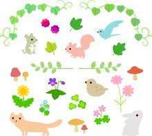 草花と小動物のイラス...