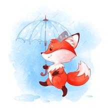 A Cute Little Fox Walks Under An Umbrella In The Rain. Vector Autumn Cartoon Character And Watercolor Texture.