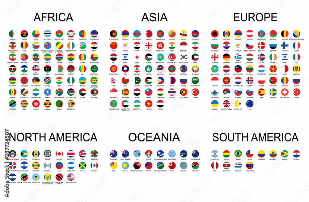 Fototapety, obrazy: Vector set official national flags of the world. Country round shape flags collection with detailed emblems.