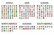 Vector Set Official National Flags Of The World. Country Round Shape Flags Collection With Detailed Emblems.