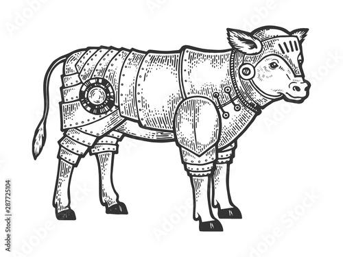 Calf bull in knight armor sketch engraving vector illustration Wallpaper Mural