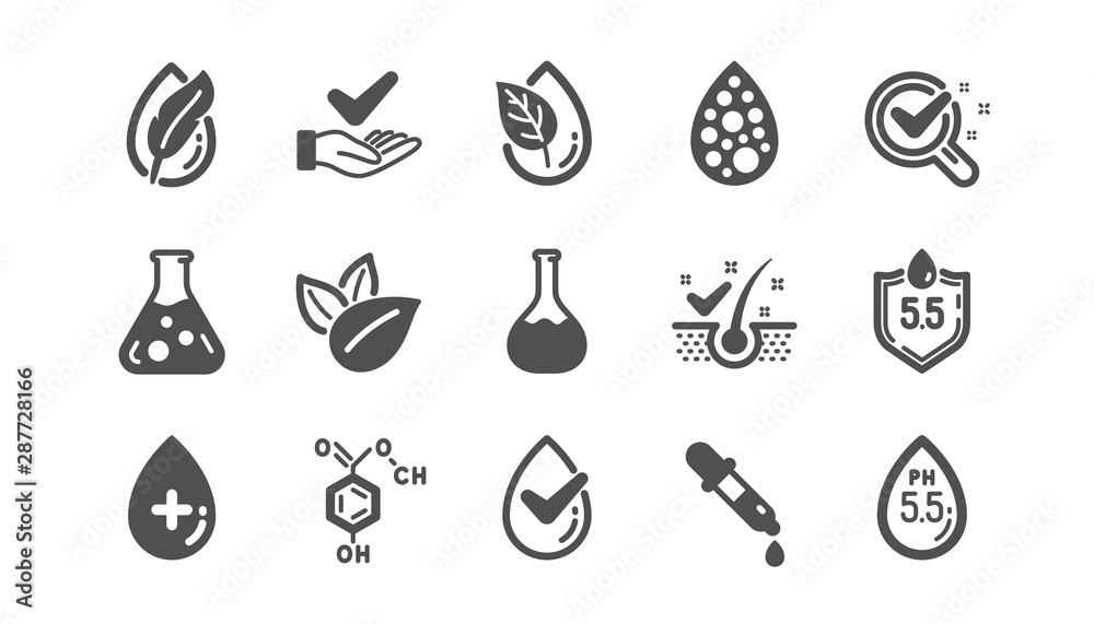 Fototapeta No artificial colors, Anti-dandruff flakes free icons. Dermatologically tested, Paraben chemical formula icons. Hypoallergenic tested, Neutral ph. Classic set. Quality set. Vector