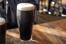 Glass Of Stout Beer Cloe-up St...