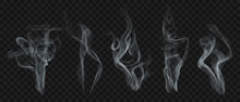 Set Of Realistic Transparent Smoke Or Steam In White And Gray Colors, For Use On Dark Background. Transparency Only In Vector Format