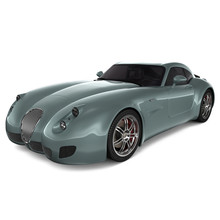 Generic Classic Sports Car Isolated Photorealistic 3D Illustration - Front View.