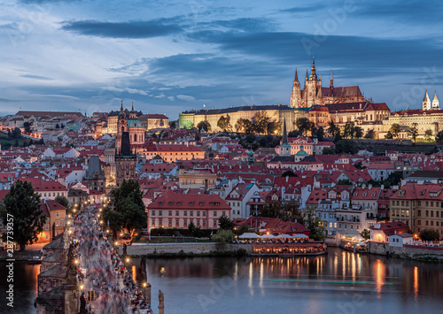 Wall Murals Prague Prague - Czech Republic - Sunset or sunrise view of Charles Bridge and Prague Castle over Vltava river and historical center of Prague, buildings and landmarks of old town