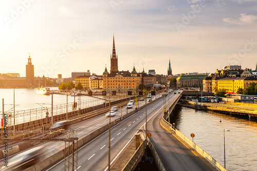 Photo  Scenic view of old buildings and car traffic at the bridge Stockholm, Sweden