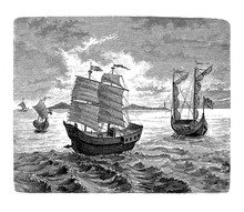 Carrack Ships  Of The Spanish Expedition Commanded By The Portuguese Explorer Ferdinand Magellan To Circumnavigate The World