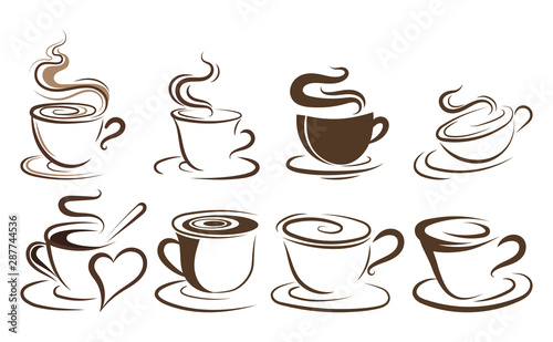 Fotomural  Set of cups of coffee