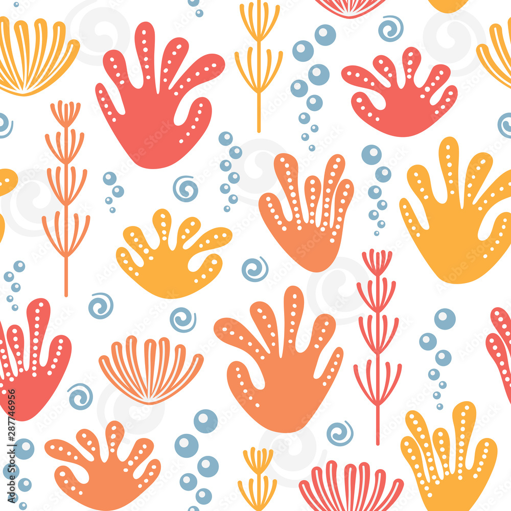 Fun seamless repeat pattern with colorful corals, seaweed, bubbles and spirals. Positive marine endless background.
