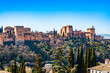 The Alhambra fortress complex with the Nasrid Palaces and Generalife a UNESCO World Heritage Site in Granada, Andalusia, Spain