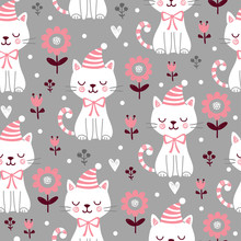 Vector Seamless Pattern With Cute Squinted Kittens In Christmas Caps On A Gray Background.
