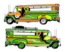 Set Of Jeepney Illustration Ph...