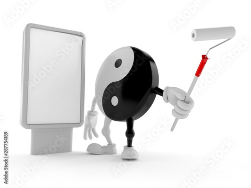 Jing Jang character with blank billboard Wallpaper Mural